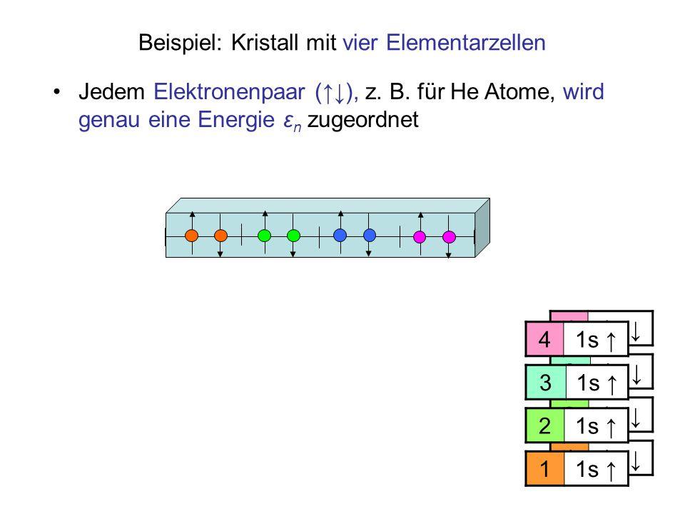 Beispiel: Kristall mit vier Elementarzellen