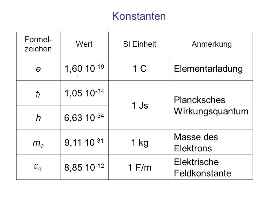 Konstanten e 1,60 10-19 1 C Elementarladung 1,05 10-34 1 Js