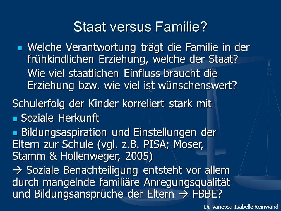Staat versus Familie Welche Verantwortung trägt die Familie in der frühkindlichen Erziehung, welche der Staat