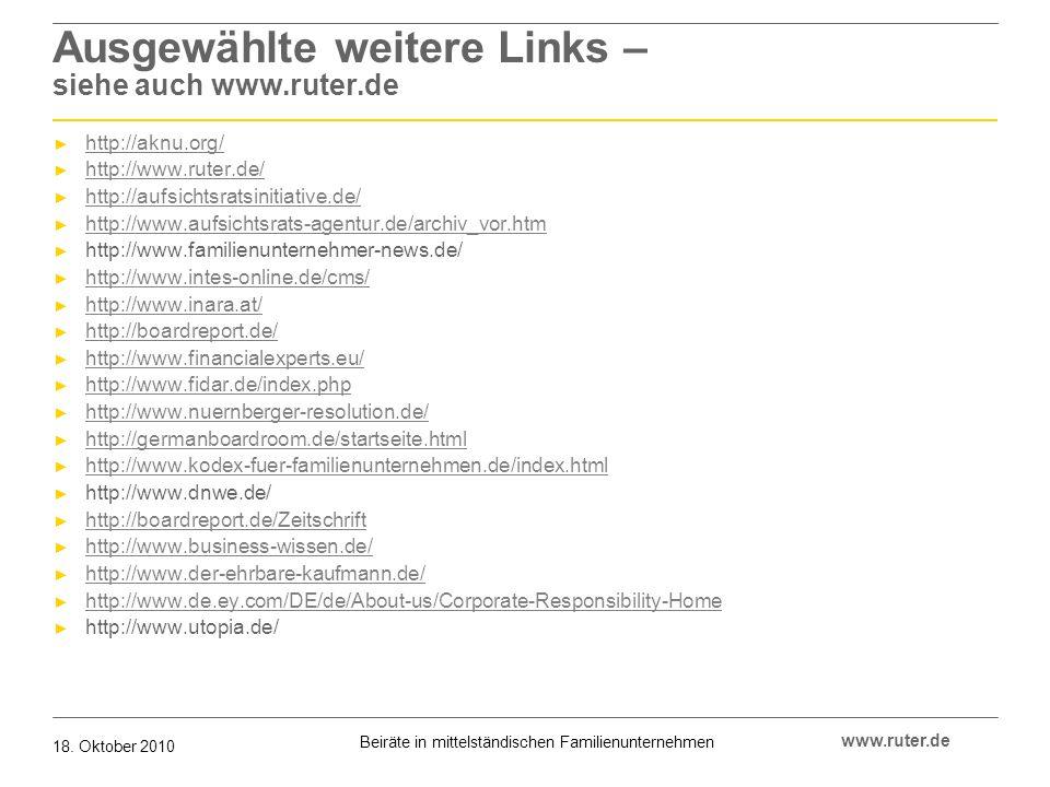 Ausgewählte weitere Links – siehe auch www.ruter.de