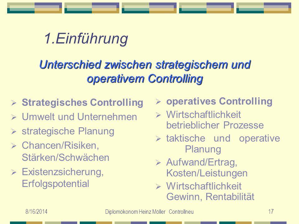 Unterschied zwischen strategischem und operativem Controlling