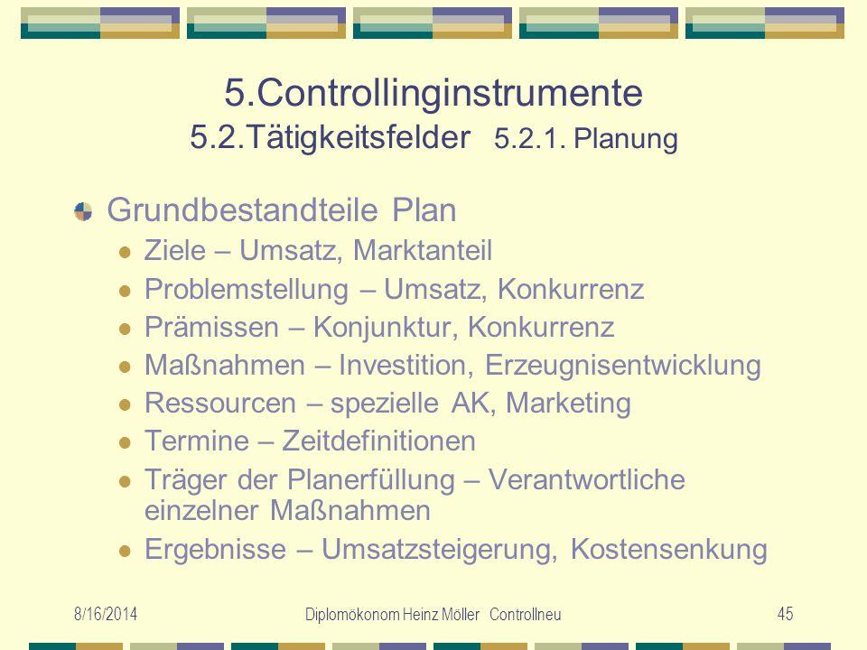 5.Controllinginstrumente 5.2.Tätigkeitsfelder 5.2.1. Planung