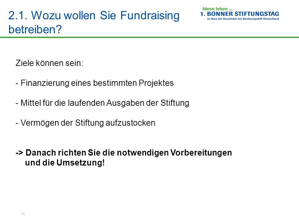 2.1. Wozu wollen Sie Fundraising betreiben