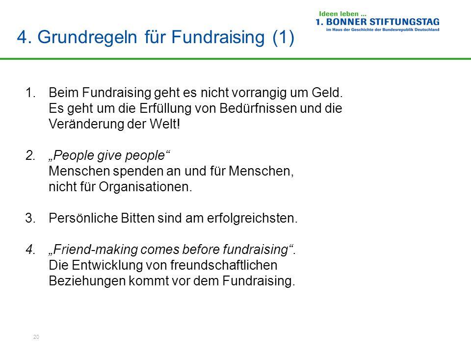 4. Grundregeln für Fundraising (1)