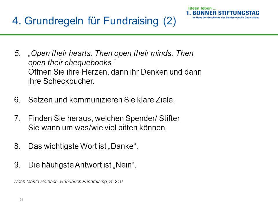 4. Grundregeln für Fundraising (2)