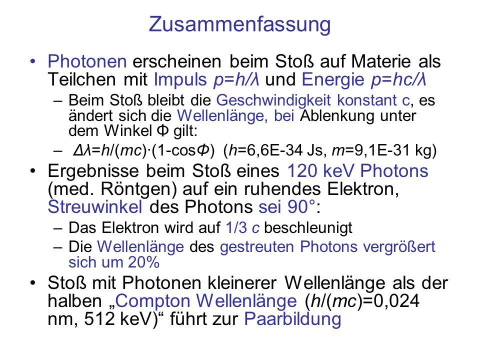 Zusammenfassung Photonen erscheinen beim Stoß auf Materie als Teilchen mit Impuls p=h/λ und Energie p=hc/λ.