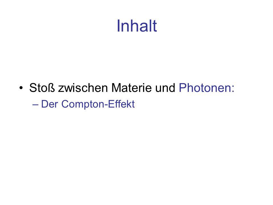 Inhalt Stoß zwischen Materie und Photonen: Der Compton-Effekt