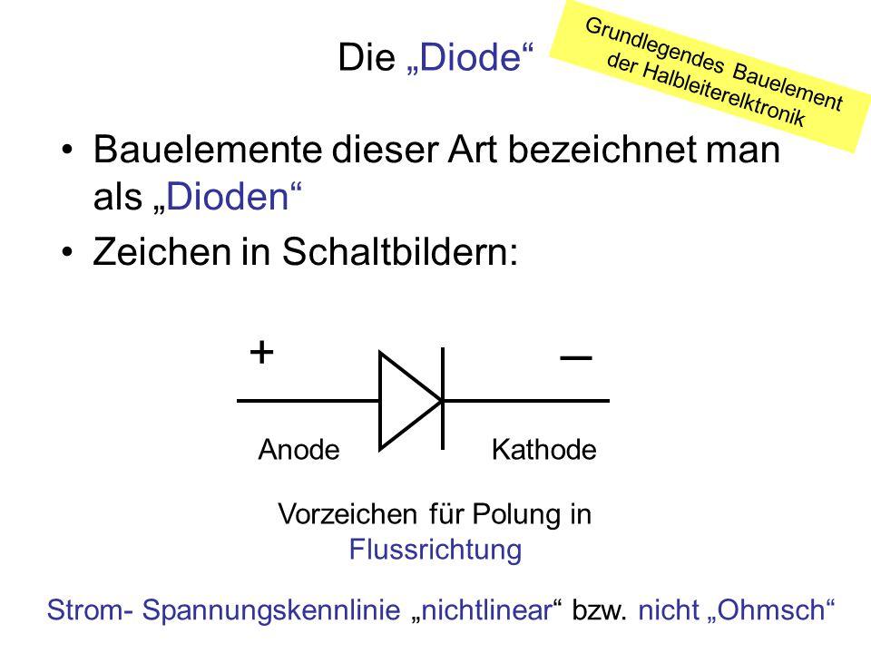 """─ + Die """"Diode Bauelemente dieser Art bezeichnet man als """"Dioden"""