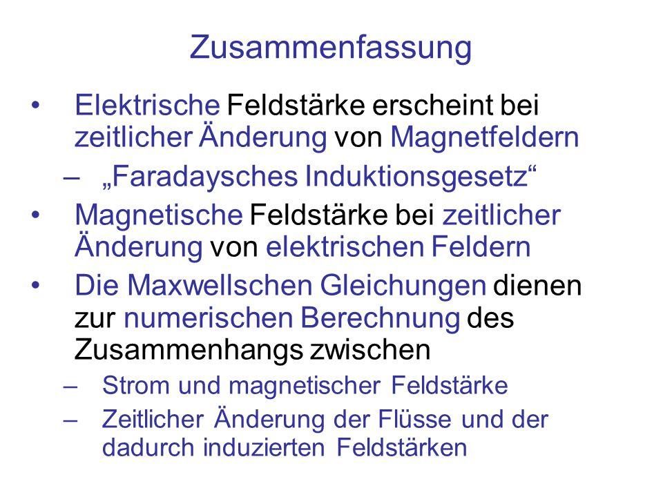 """Zusammenfassung Elektrische Feldstärke erscheint bei zeitlicher Änderung von Magnetfeldern. """"Faradaysches Induktionsgesetz"""