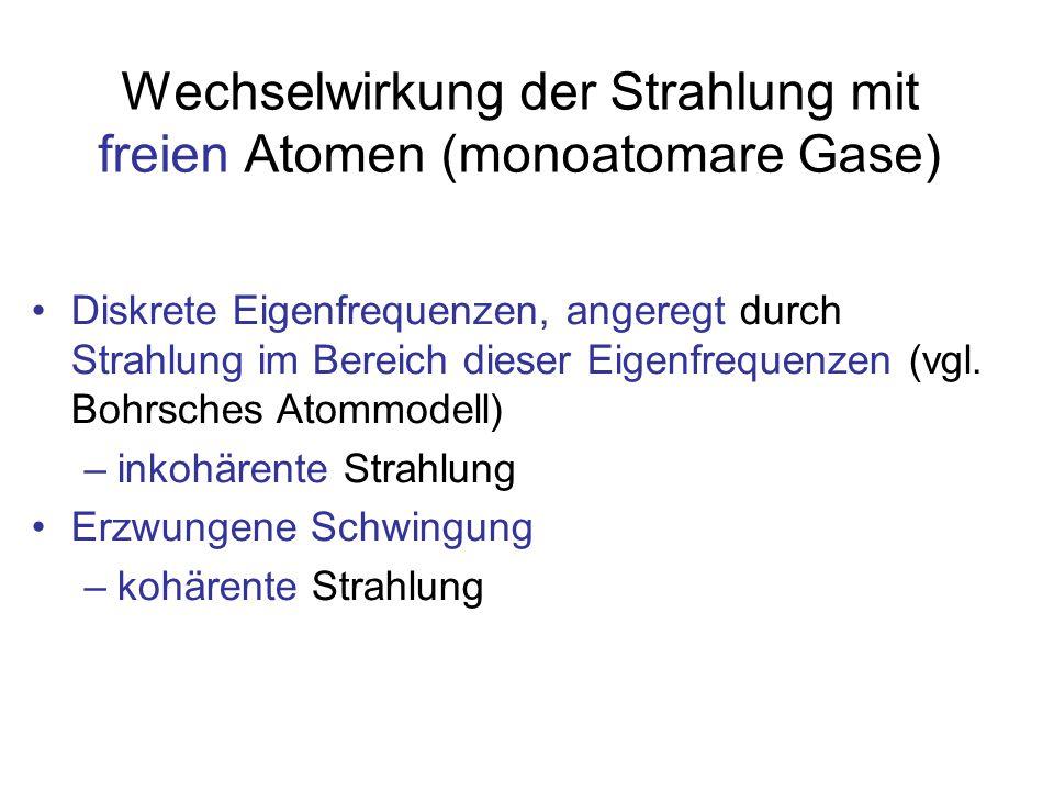 Wechselwirkung der Strahlung mit freien Atomen (monoatomare Gase)