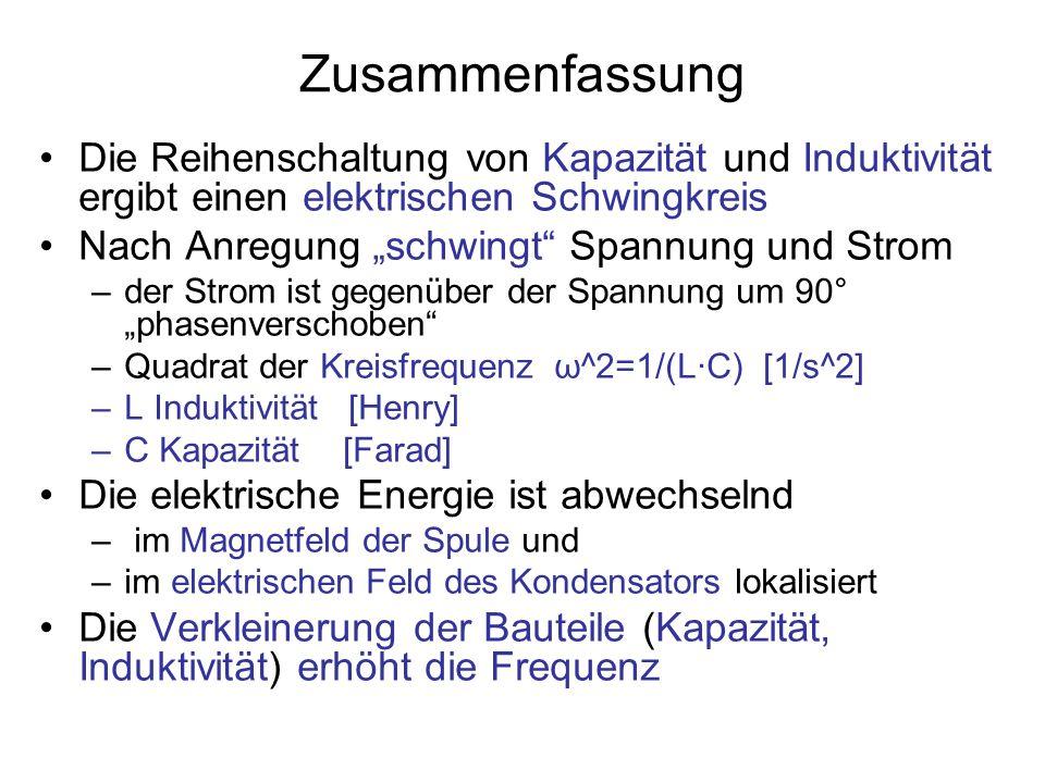 Zusammenfassung Die Reihenschaltung von Kapazität und Induktivität ergibt einen elektrischen Schwingkreis.