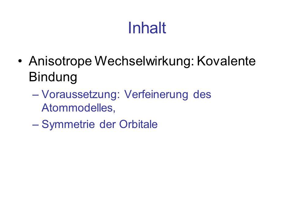 Inhalt Anisotrope Wechselwirkung: Kovalente Bindung