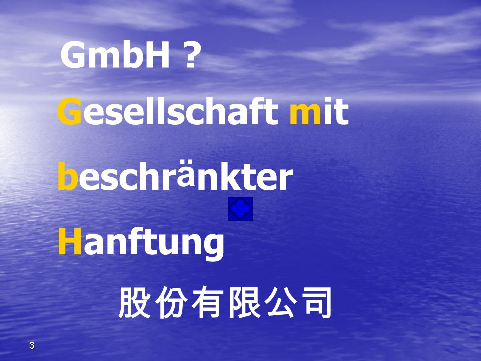 GmbH Gesellschaft mit beschränkter Hanftung 股份有限公司 3