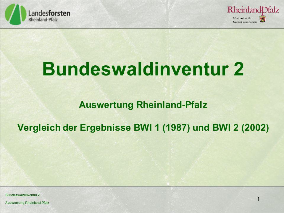 Bundeswaldinventur 2 Auswertung Rheinland-Pfalz Vergleich der Ergebnisse BWI 1 (1987) und BWI 2 (2002)