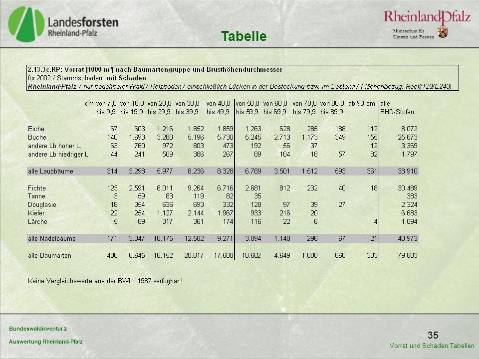Tabelle Vorrat und Schäden:Tabellen