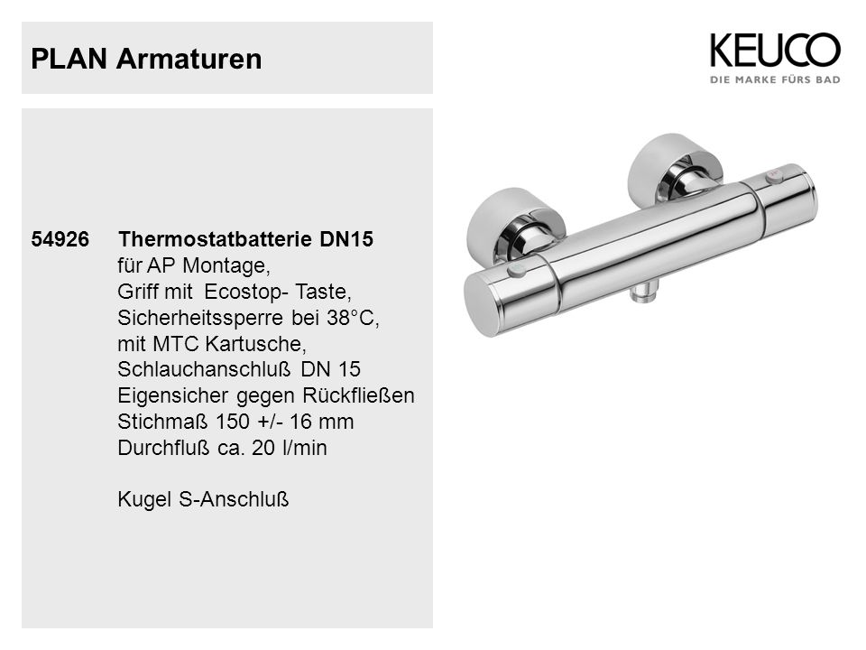 PLAN Armaturen 54926 Thermostatbatterie DN15