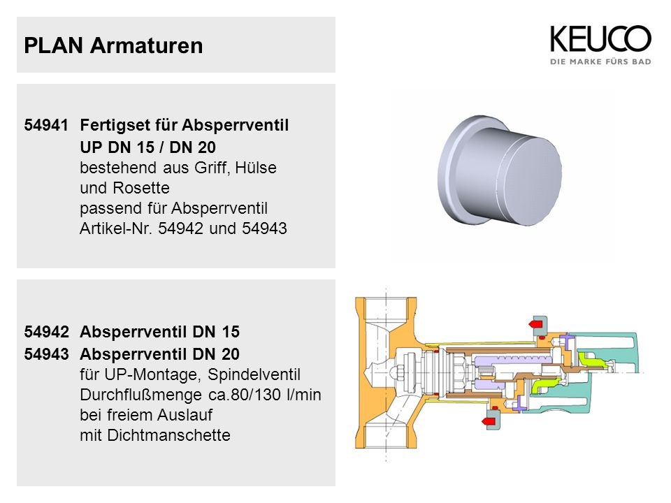 PLAN Armaturen UP DN 15 / DN 20 54941 Fertigset für Absperrventil