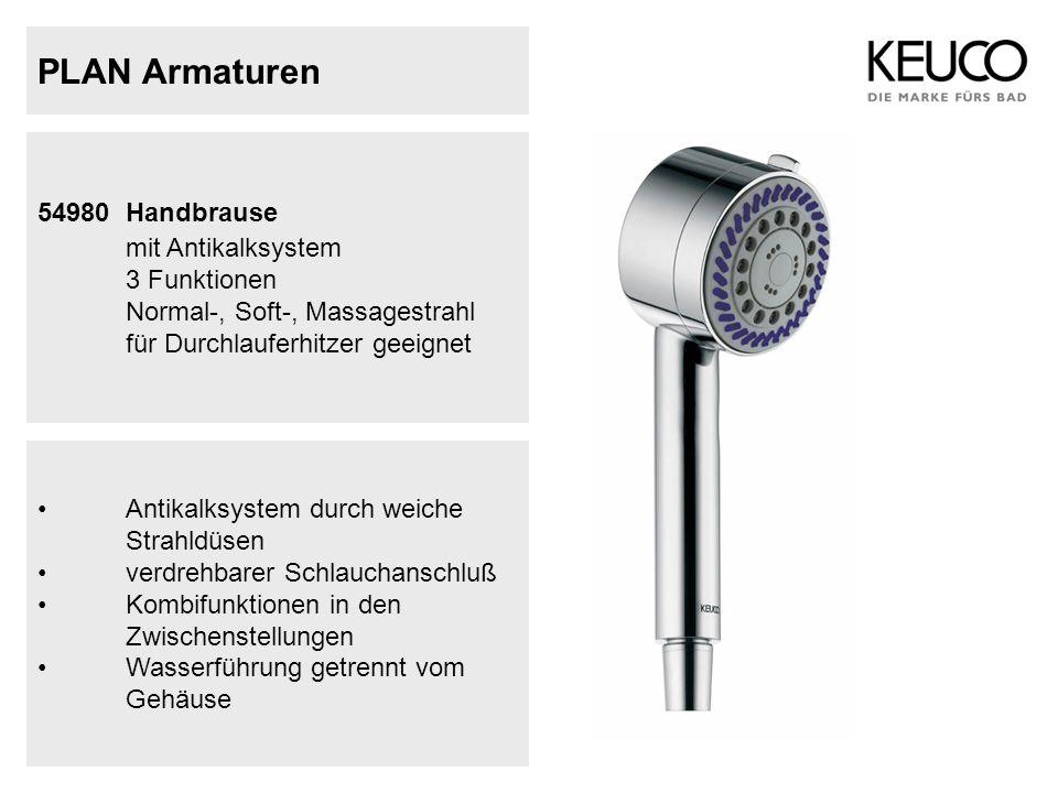PLAN Armaturen mit Antikalksystem 54980 Handbrause 3 Funktionen