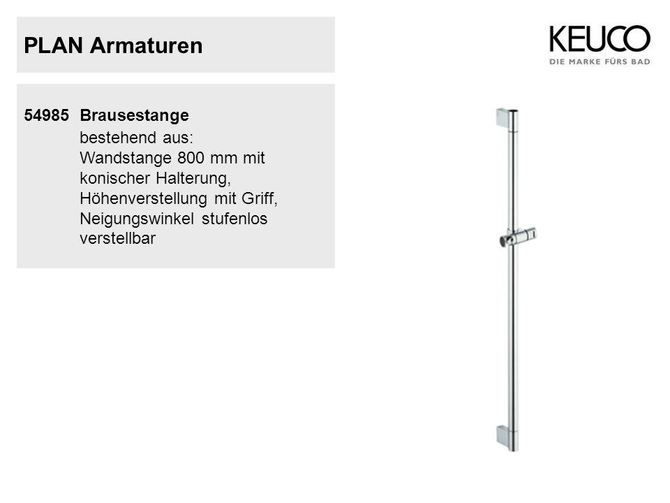PLAN Armaturen bestehend aus: 54985 Brausestange Wandstange 800 mm mit