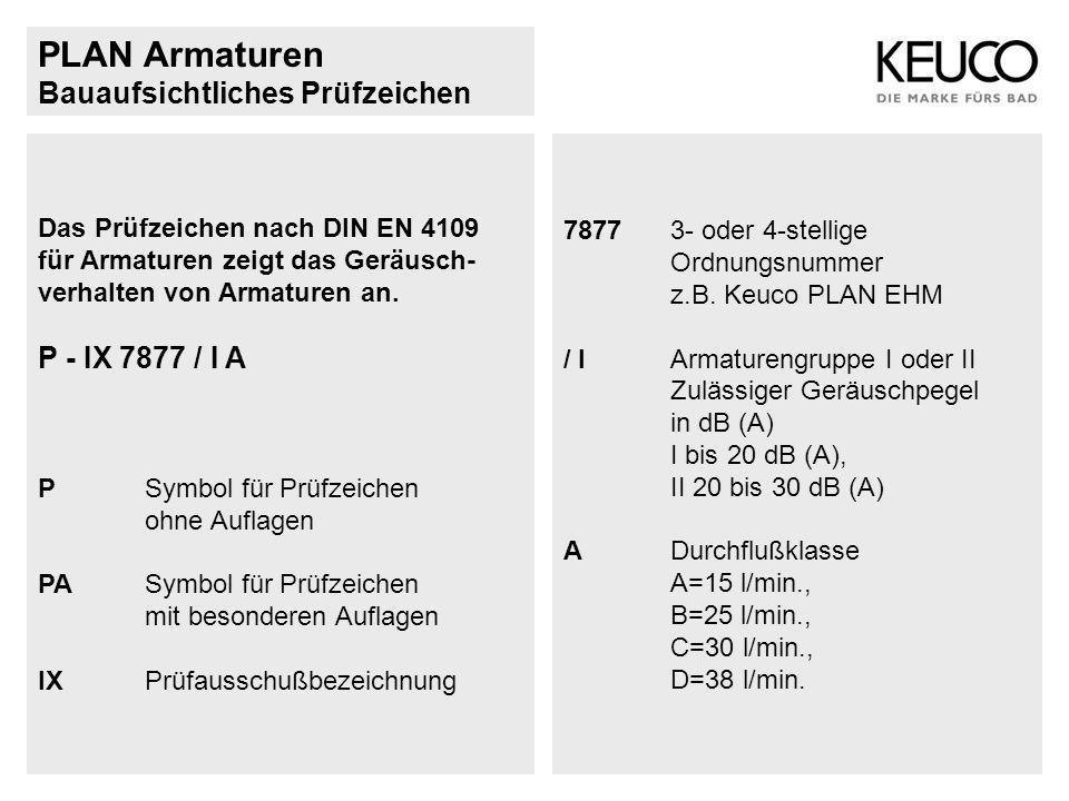 PLAN Armaturen Bauaufsichtliches Prüfzeichen P - IX 7877 / I A