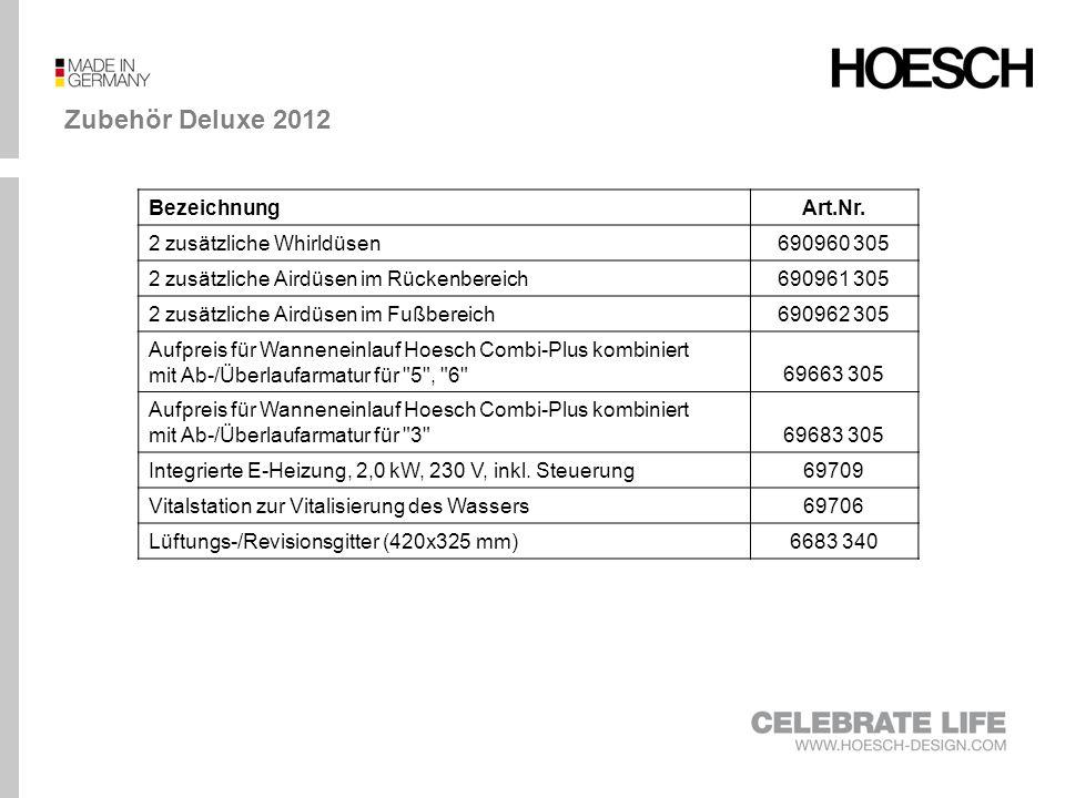 Zubehör Deluxe 2012 Bezeichnung Art.Nr. 2 zusätzliche Whirldüsen