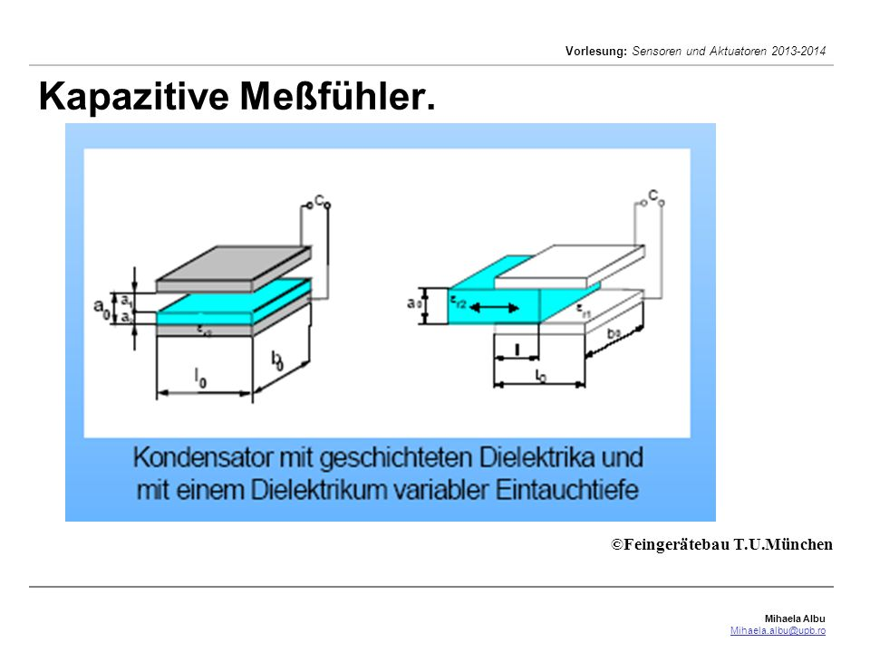 Kapazitive Meßfühler. ©Feingerätebau T.U.München