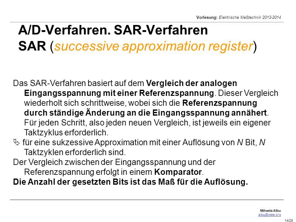A/D-Verfahren. SAR-Verfahren SAR (successive approximation register)
