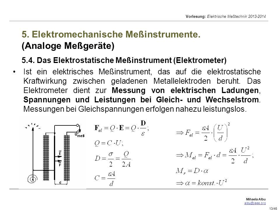 5. Elektromechanische Meßinstrumente. (Analoge Meßgeräte) 5. 4