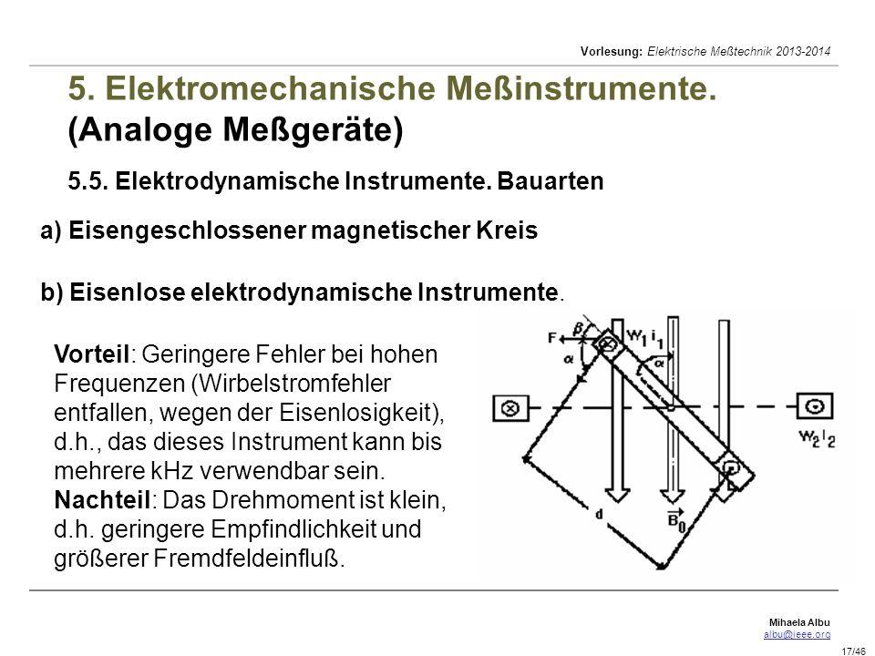 5. Elektromechanische Meßinstrumente. (Analoge Meßgeräte) 5. 5