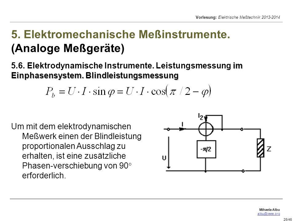 5. Elektromechanische Meßinstrumente. (Analoge Meßgeräte) 5. 6