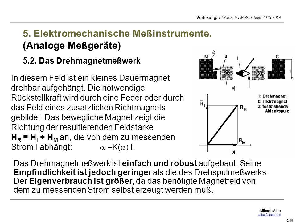 5. Elektromechanische Meßinstrumente. (Analoge Meßgeräte) 5. 2