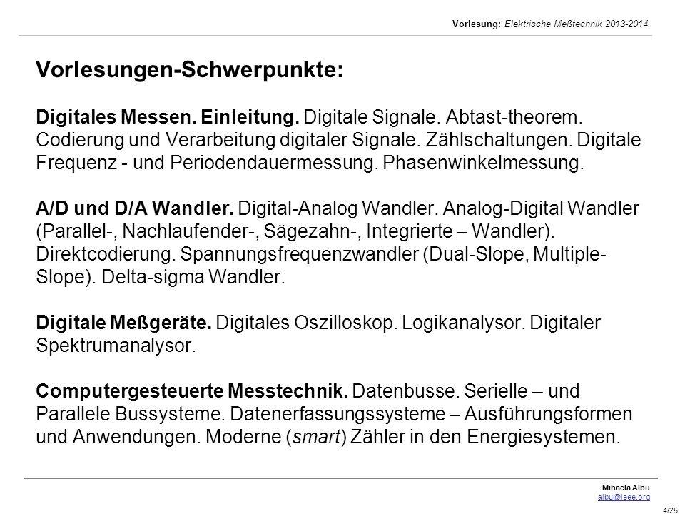 Vorlesungen-Schwerpunkte: Digitales Messen. Einleitung