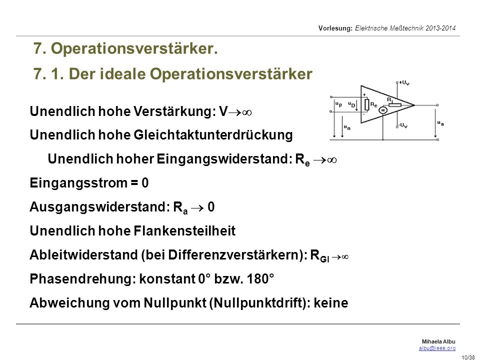 7. Operationsverstärker. 7. 1. Der ideale Operationsverstärker