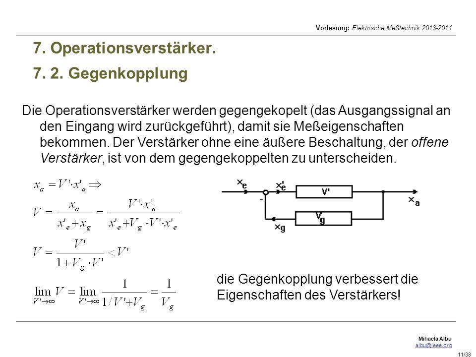 7. Operationsverstärker. 7. 2. Gegenkopplung