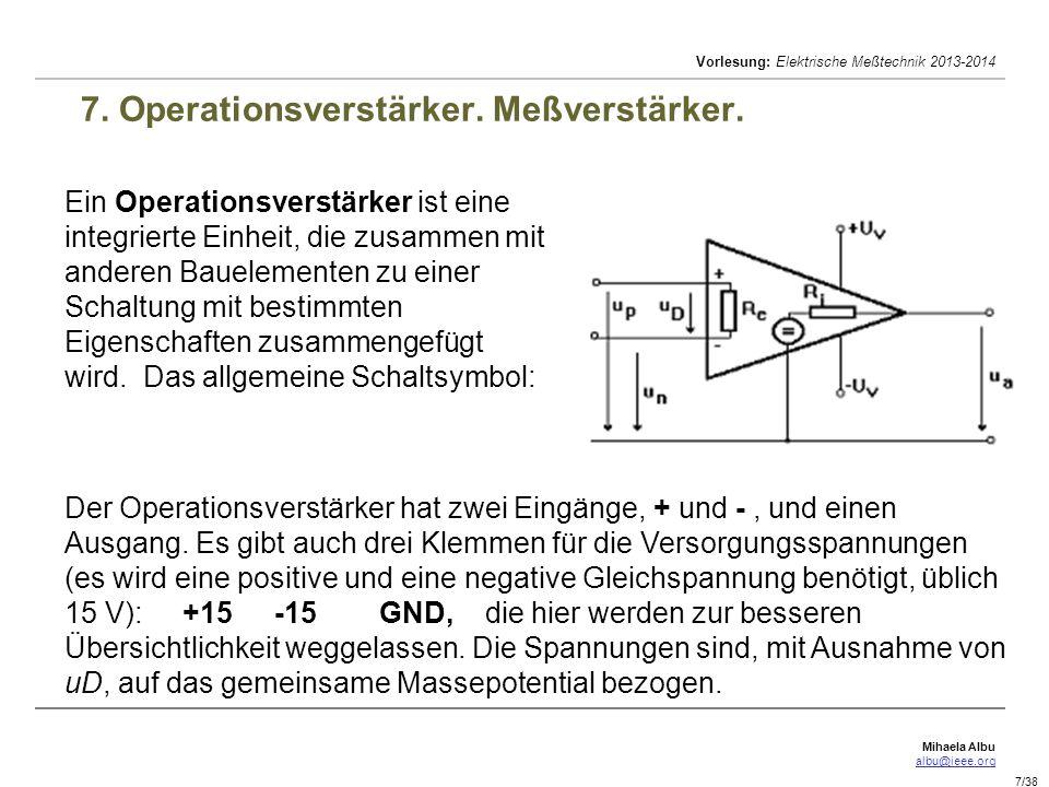 7. Operationsverstärker. Meßverstärker.