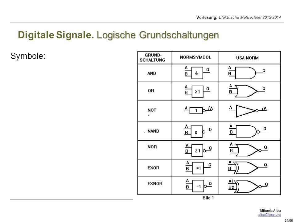 Digitale Signale. Logische Grundschaltungen