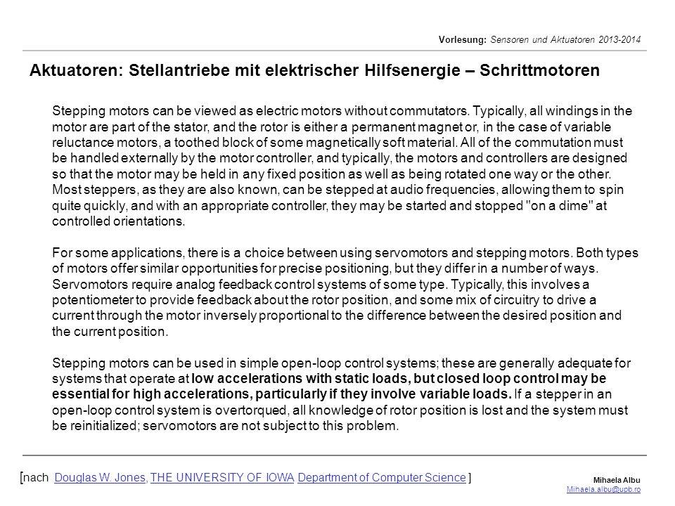 Aktuatoren: Stellantriebe mit elektrischer Hilfsenergie – Schrittmotoren