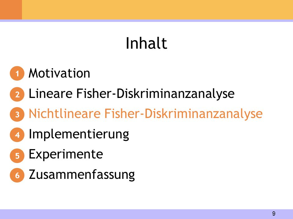 Inhalt Motivation Lineare Fisher-Diskriminanzanalyse