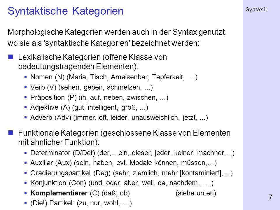 Syntaktische Kategorien
