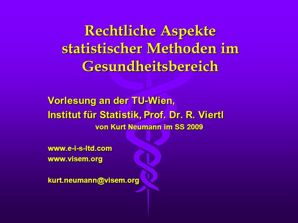 Rechtliche Aspekte statistischer Methoden im Gesundheitsbereich