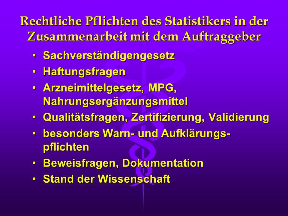 Rechtliche Pflichten des Statistikers in der Zusammenarbeit mit dem Auftraggeber