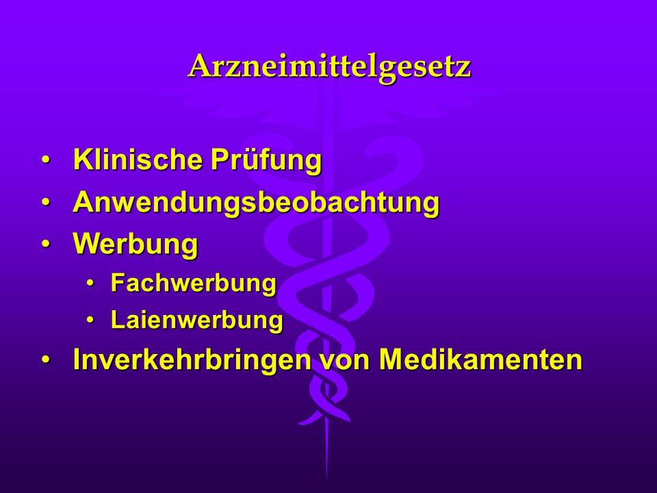 Arzneimittelgesetz Klinische Prüfung Anwendungsbeobachtung Werbung