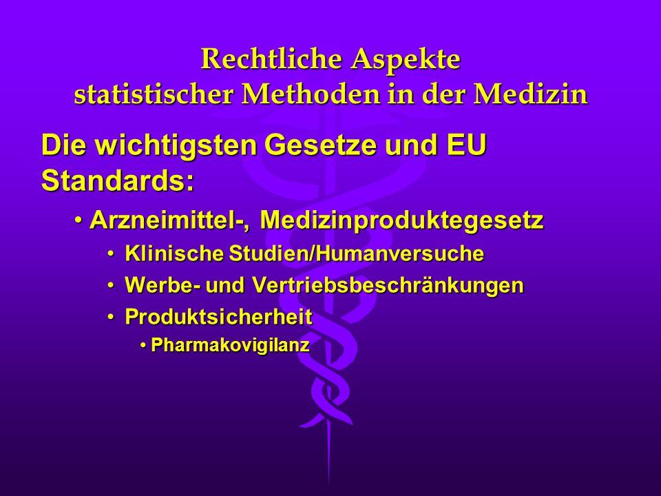 Rechtliche Aspekte statistischer Methoden in der Medizin
