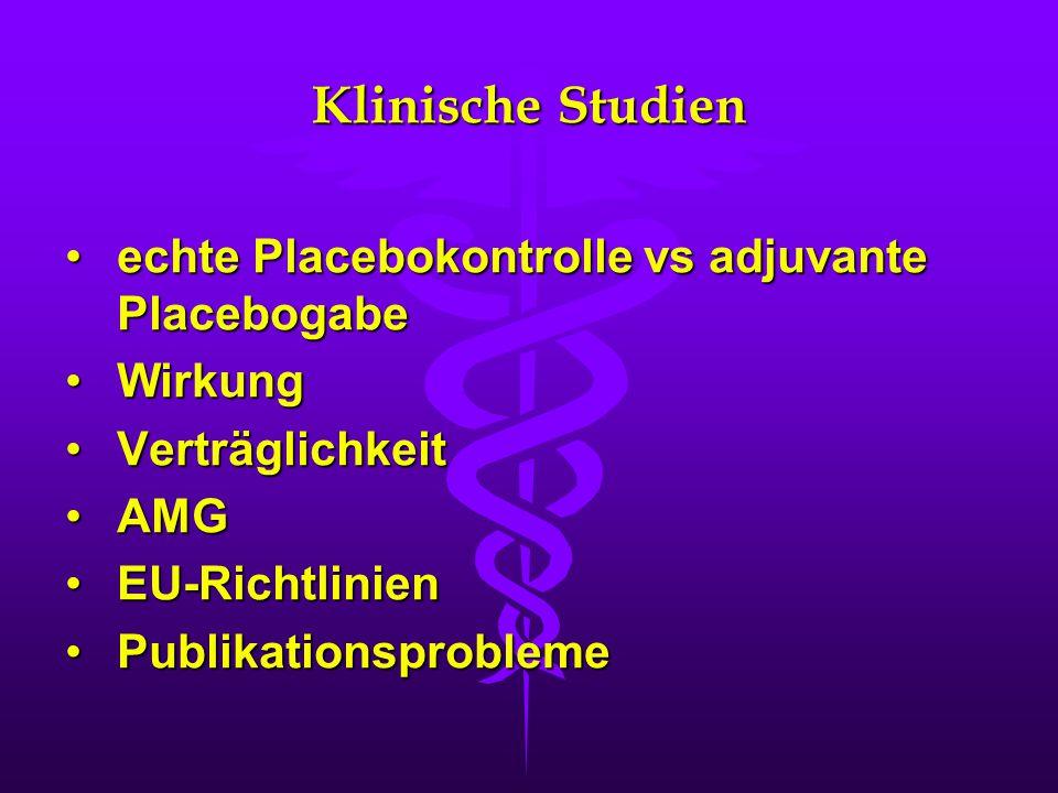 Klinische Studien echte Placebokontrolle vs adjuvante Placebogabe