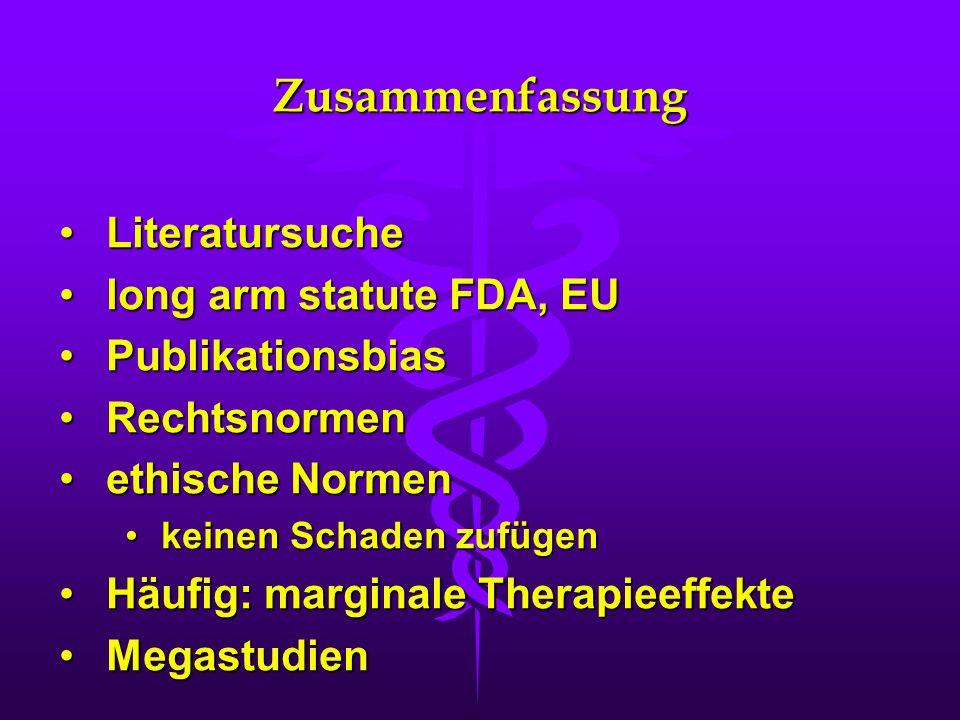 Zusammenfassung Literatursuche long arm statute FDA, EU