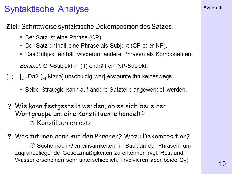 Syntaktische Analyse Ziel: Schrittweise syntaktische Dekomposition des Satzes. Der Satz ist eine Phrase (CP).