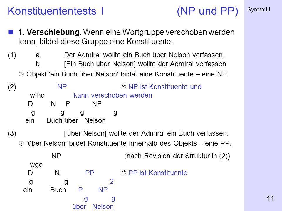 Konstituententests I (NP und PP)