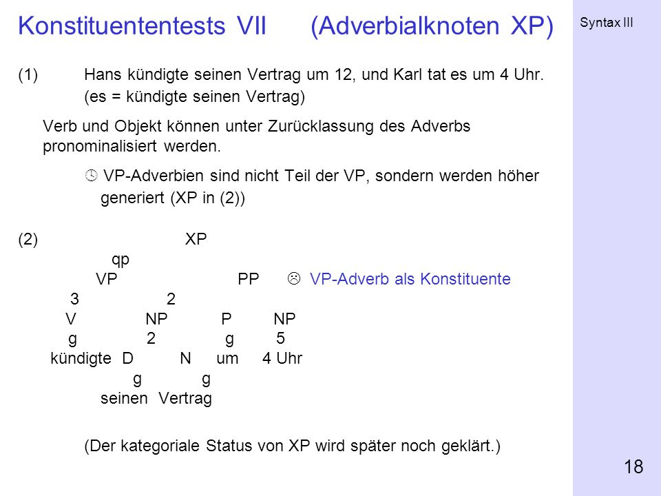 Konstituententests VII (Adverbialknoten XP)