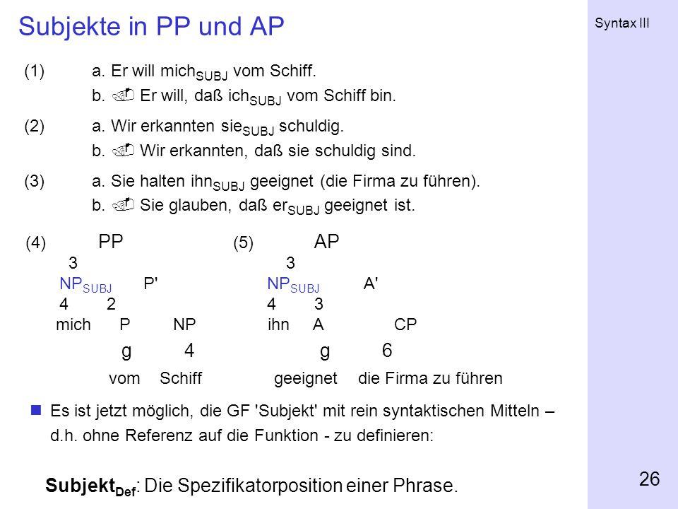 Subjekte in PP und AP vom Schiff geeignet die Firma zu führen