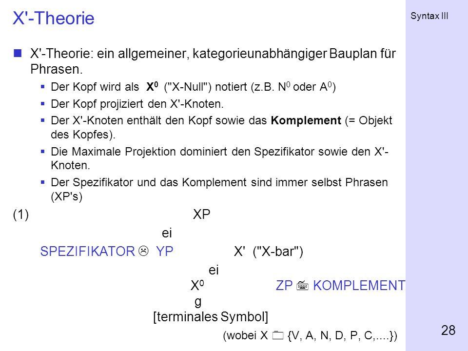 X -Theorie X -Theorie: ein allgemeiner, kategorieunabhängiger Bauplan für Phrasen. Der Kopf wird als X0 ( X-Null ) notiert (z.B. N0 oder A0)
